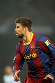 BARCELONA - JAN 16: Gerard Pique of Barcelona during the match between FC Barcelona and Malaga CF at