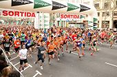 BARCELONA - APRIL 3: Runners on start of Cursa de El Corte Ingles, the second most popular race in t