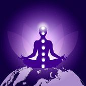 Silhouette Of Person In Yoga Lotus Asana Sitting On Planet Earth On Dark Blue Purple Background With poster