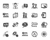 Ux Icons. Set Of Ab Testing, Journey Path Map And Question Mark Icons. Usability Quiz Test, Ux Ui An poster