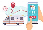 Ambulance Service. Urgent 911 Hospital Emergency Call Vector Concept. Illustration Of Emergency 911  poster