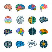 Human Brain Collection. Creative Silhouettes Of Smart Minds Genius Remember Vector Logotypes Element poster