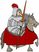 picture of jousting  - This illustration depicts a knight in armor atop a horse and holding a jousting pole and shield - JPG