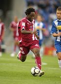 BARCELONA - OCTOBER 18: Daniel Ngom Kome, a Cameroonian player for Tenerife, in action during a Span