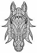 Adult Coloring Book, Page A Head Of Horse For Relaxing.zen Art Style Illustration. Design For Spirit poster