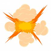 Bomb Explosion Icon. Cartoon Illustration Of Bomb Explosion Icon For Web On White Background poster