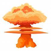 Nuclear Explosion Icon. Cartoon Illustration Of Nuclear Explosion Icon For Web poster