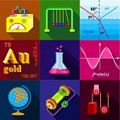 Scientific Experience Icons Set. Flat Set Of 9 Scientific Experience Icons For Web With Long Shadow poster