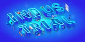 Vector 3d Neon Isometric Word Industrial On Blue Gradient Background With Neural Network. People Use poster