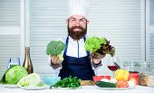 Bearded Professional Chef Cooking Healthy Food. Healthy Vegetarian Recipe. I Choose Only Healthy Ing poster