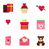 Valentine Day Equipment Icons Set. Flat Set Of 9 Valentine Day Equipment Icons For Web Isolated On W poster