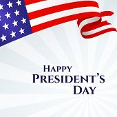 Banner Text Happy Presidents Day American Flag Ribbon Stars Stripes On A Light Background Patriotic poster