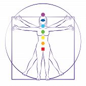 Chakras Of Female Body. Vitruvian Woman With Seven Main Chakra Symbols. Isolated Vector Illustration poster