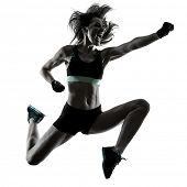 one caucasian woman exercising cardio boxing workout fitness exercise aerobics silhouette isolated o poster