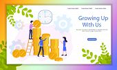 Fast Growing Business Investment Project Flat Vector Web Banner With Company Employees Working Toget poster