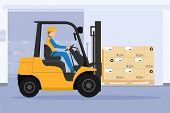 Forklift With Man Driving Tunnel Cooling Chamber poster