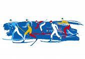 Cross Country Ski Race, Grunge Stylized. Illustration Of Five Cross Country Ski Racers On Grunge Bac poster