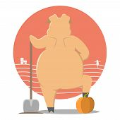 Thick Pig. Pig In The Garden. Cartoon Pig. Pig With A Shovel. poster