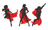Woman Superhero Silhouette. Female Power Concept Isolated On White Background, Vector Comic Warrior  poster
