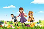 stock photo of easter-eggs  - A vector illustration of kids celebrating Easter by going on an Easter egg hunt - JPG