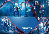 Collage About Man With Battle Rope And Woman In The Fitness Gym. The Gym, Sport, Rope, Training, Ath poster