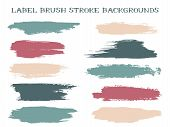 Grunge Label Brush Stroke Backgrounds, Paint Or Ink Smudges Vector For Tags And Stamps Design. Paint poster