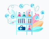 Illustration Medical Laboratory Researching Virus. Vector Image Rack On Which Medical Equipment Is L poster