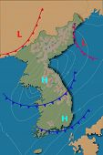Weather Map Of The Korea. Realistic Synoptic Map Of The Country Showing Isobars And Weather Fronts.m poster