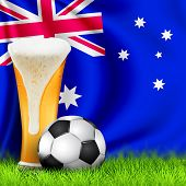 Realistic 3d Soccer Ball And Glass Of Beer On Grass With National Waving Flag Of Australia. Design O poster