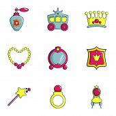 Little Princess Icons Set. Flat Set Of 9 Little Princess Icons For Web Isolated On White Background poster