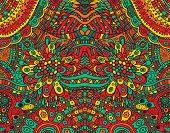 Psychedelic Tribal Funky Symmetrical Background. Colorful Fantastic Cartoon Doodle Ornament. Vector  poster