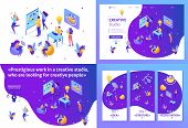 Set Template Design Article, Landing Page, App Design, Isometric Creative Studio, Creating Ideas, Em poster