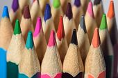 Colored Pencils Of Various Colors, Close Up poster