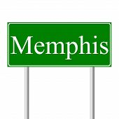 picture of memphis tennessee  - Memphis green road sign isolated on white background - JPG