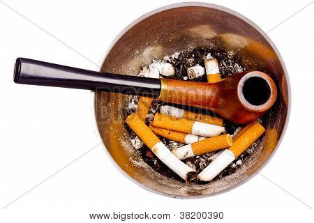 Ashtray With Butts And Pipe