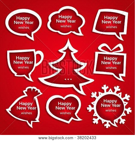 Christmas speech bubles set various shapes with New Year Greetings