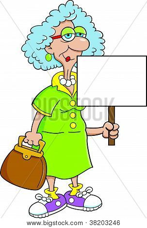 Senior citizen lady with a sign