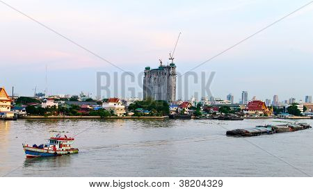 Trailer Boat At Chaopraya River Thailand