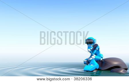 Robot On Stone