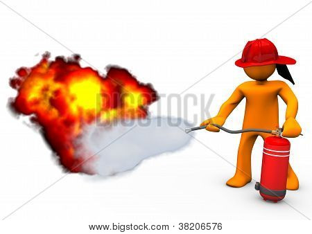 Fireman Extinguisher Fire
