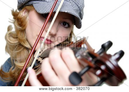 Close Up Shot Of Woman Playing A Violin