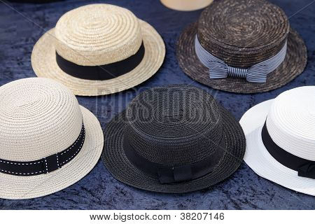 Vintage Straw Boater Hats.