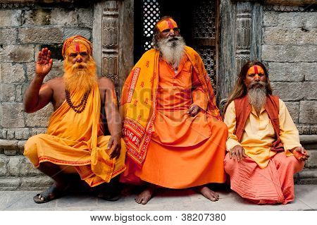 Sadhu Men, Blessing In Pashupatinath Temple