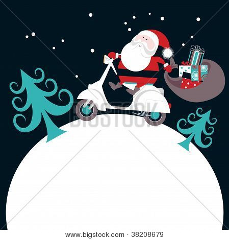 Santa on Scooter Delivering Gifts
