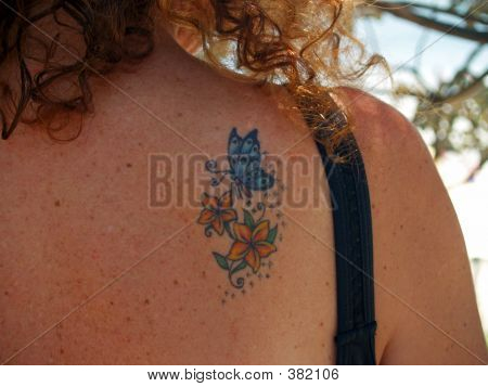 Tattoo on woman's shoulder