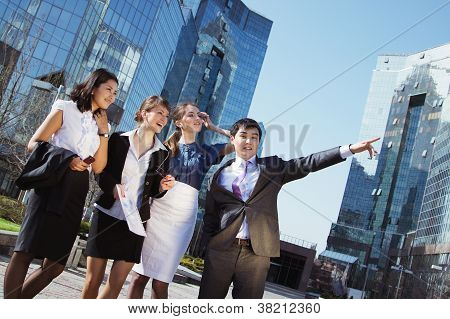 Happy diverse group of executives