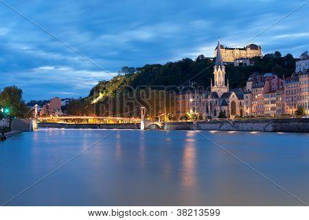 Lyon And Saone River At Night