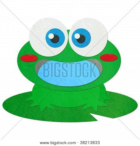 Rice Paper Cut Cute Green Frog