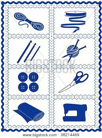Sewing, Knit, Crochet, Craft Icons