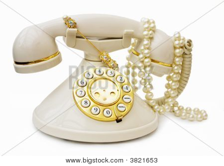 Vintage Phone With Pearls And Clipping Path